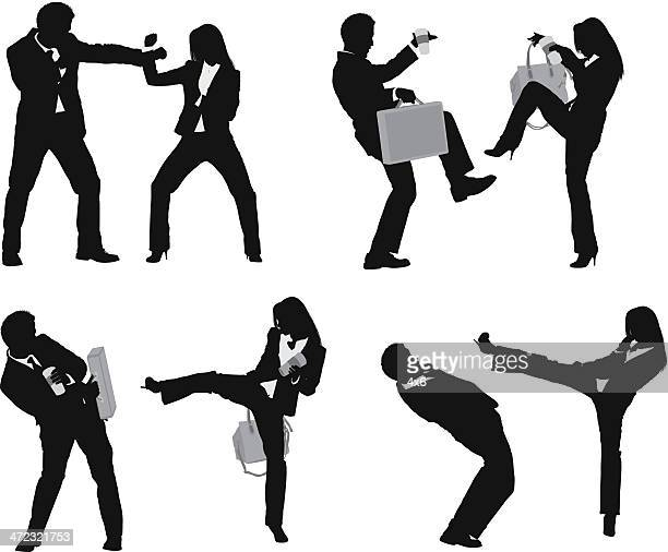 business executives fighting - combat sport stock illustrations, clip art, cartoons, & icons