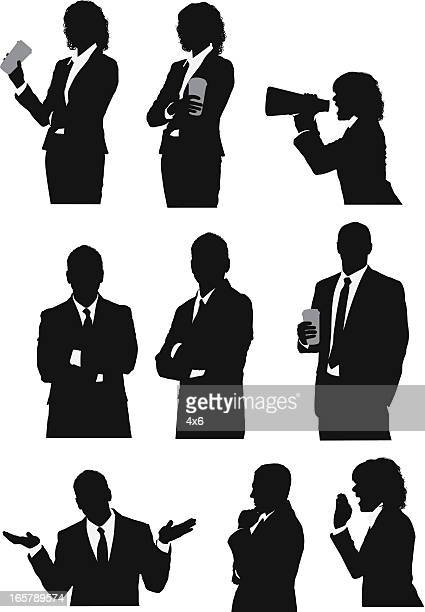 business executives in different poses - waist up stock illustrations