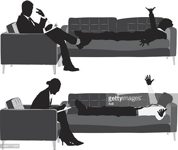 business executives on couch - alternative therapy stock illustrations, clip art, cartoons, & icons