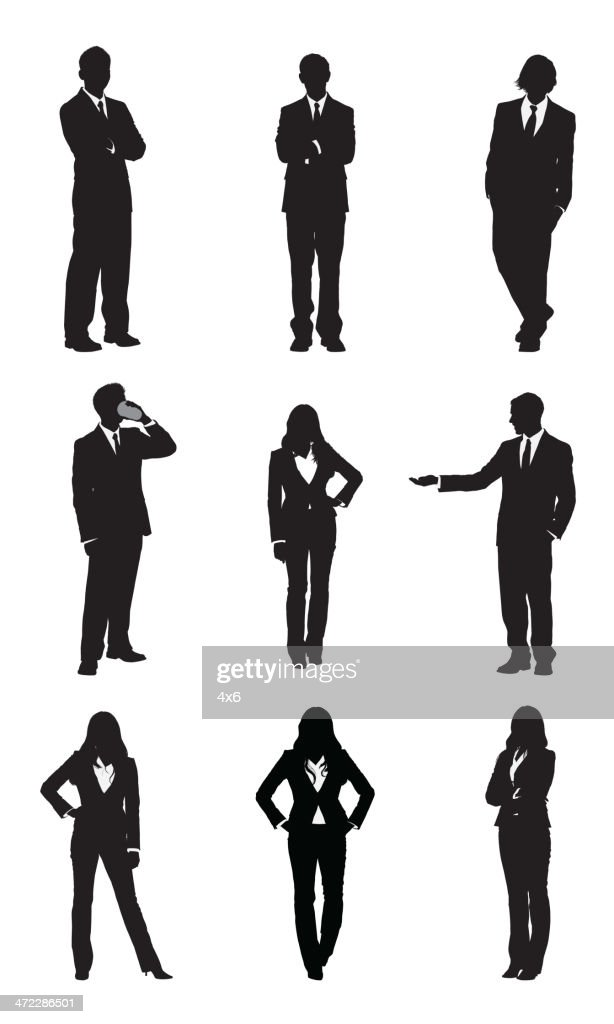 Business executives standing in different poses : stock illustration