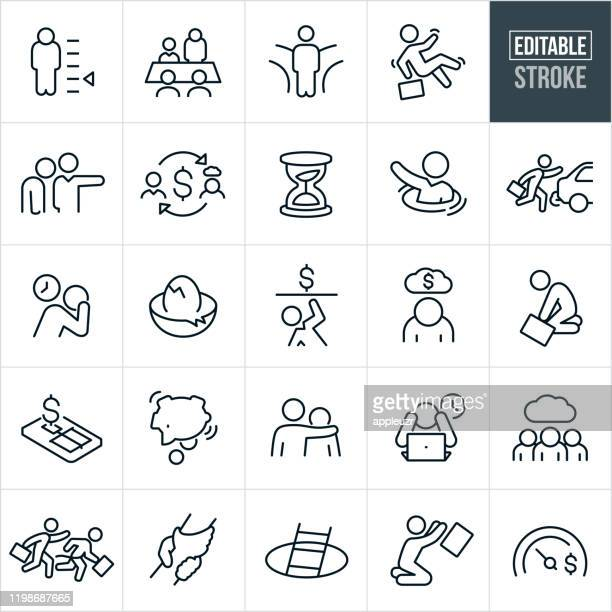 business failure thin line icons - editable stroke - emotional stress stock illustrations