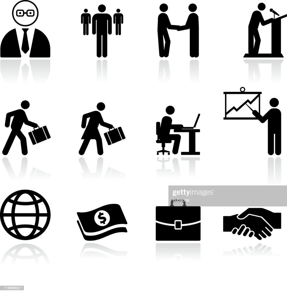 business finance black and white royalty free vector art set : stock illustration