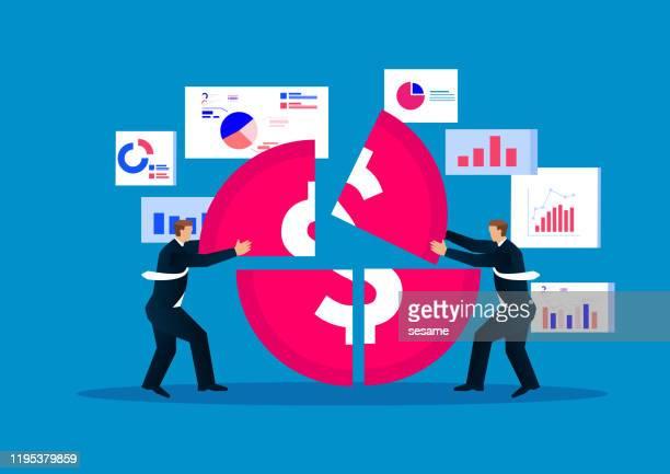 illustrazioni stock, clip art, cartoni animati e icone di tendenza di concetto di finanza aziendale, l'uomo d'affari ha jigsaw monete d'oro con crescita dei dati finanziari - professione finanziaria
