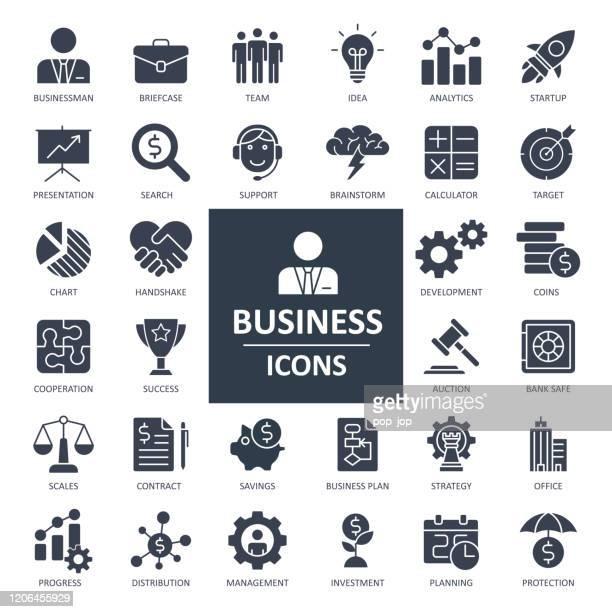 ビジネスファイナンス経済アイコン - ソリッドボールドベクトル - 固体点のイラスト素材/クリップアート素材/マンガ素材/アイコン素材
