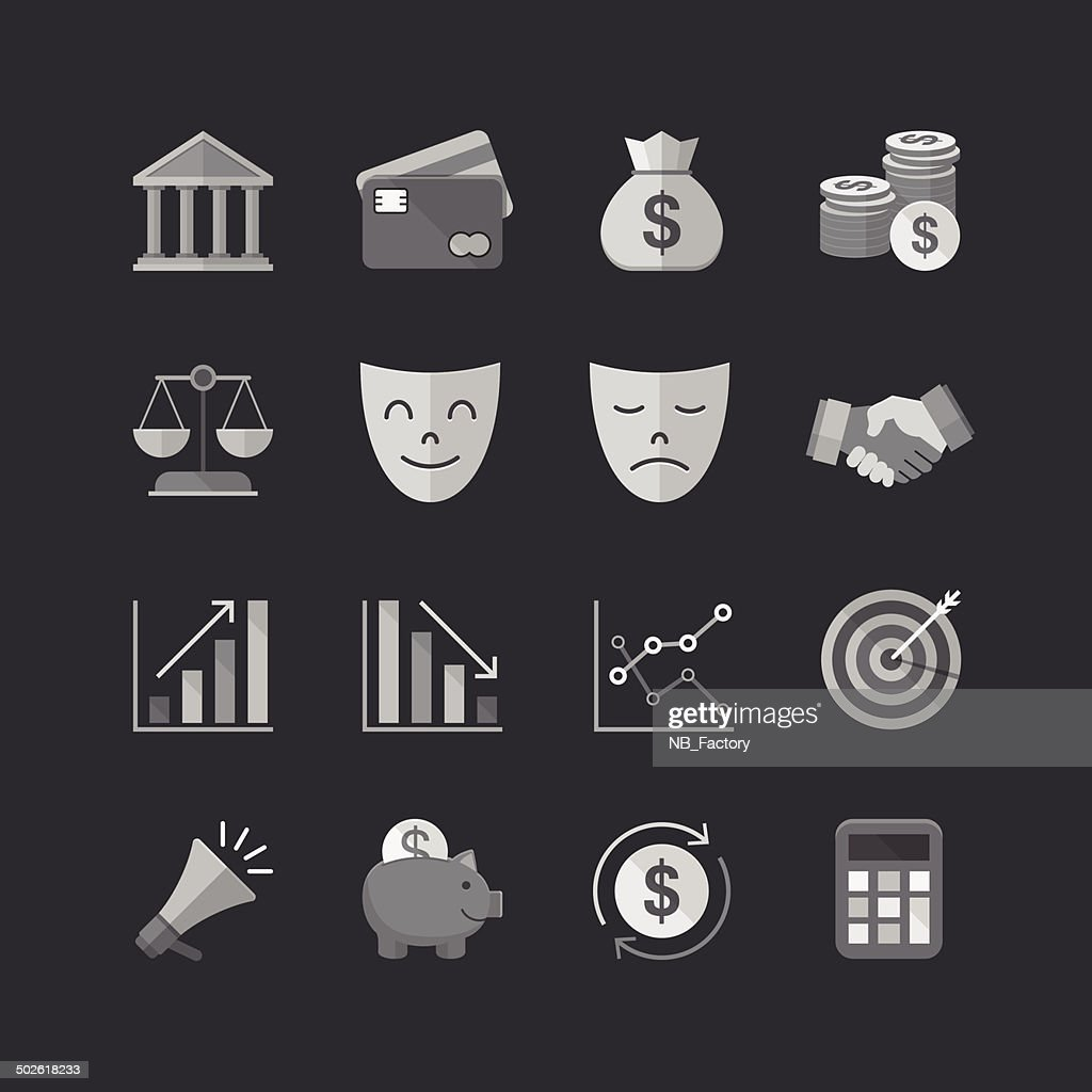 Business & finance Flat Style icons set