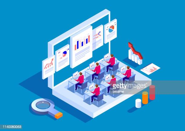 business finance learning and online training - learning stock illustrations
