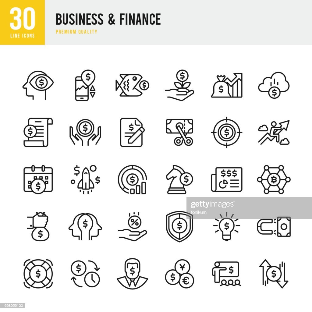 Business & Finance - set of thin line vector icons : Stock Illustration