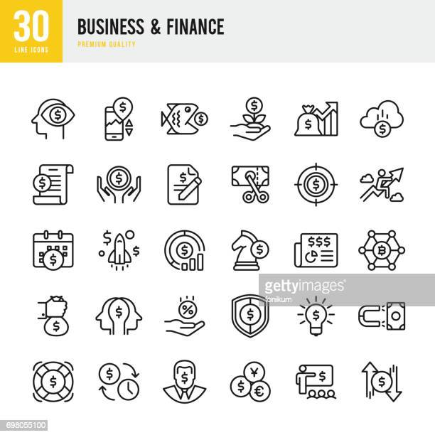 business & finance - set of thin line vector icons - dollar sign stock illustrations, clip art, cartoons, & icons