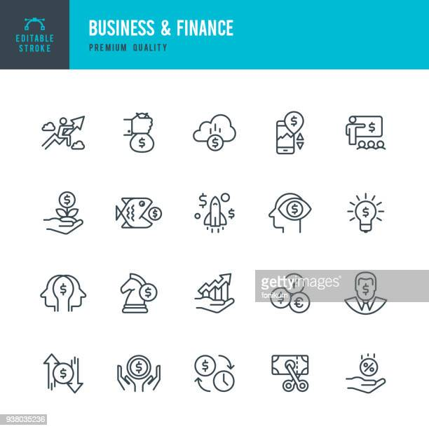 business & finance - set of thin line vector icons - investment stock illustrations