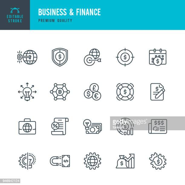 business & finance - set of vector line icons - cryptocurrency stock illustrations