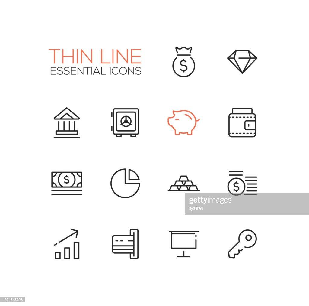 Business, Finance, Symbols - thick line design icons set