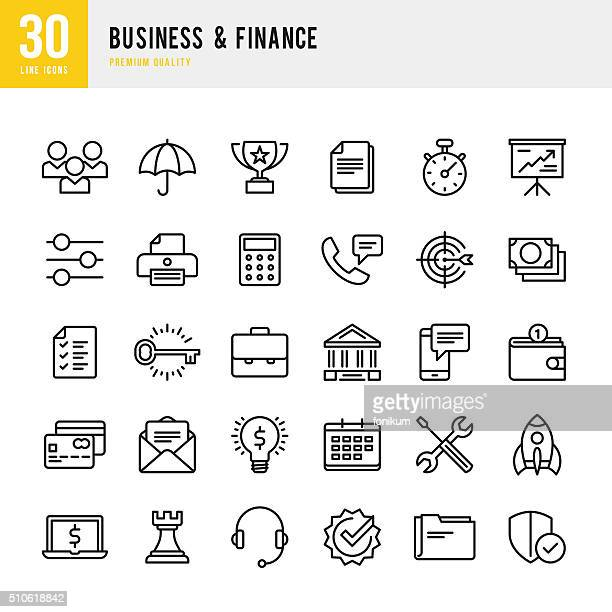 business & finance - thin line icon set - finance and economy stock illustrations, clip art, cartoons, & icons