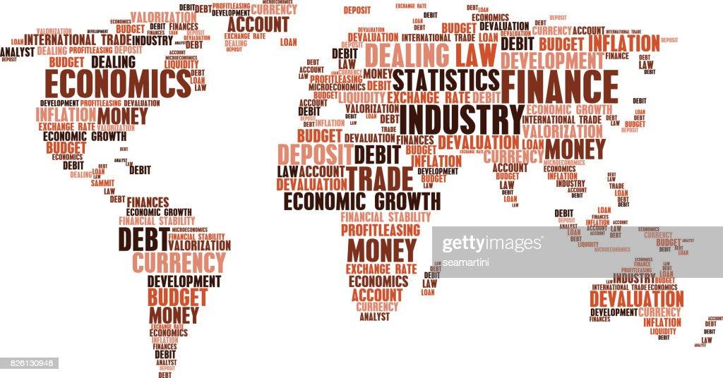 Business, finance word cloud tags, world map shape
