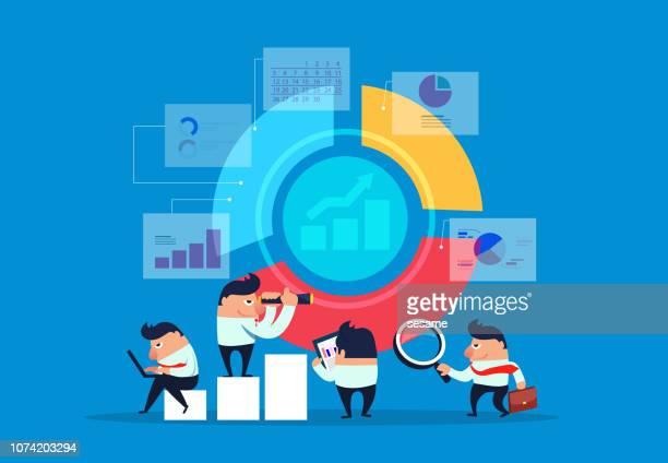 business finance work and chart analysis - big data isometric stock illustrations