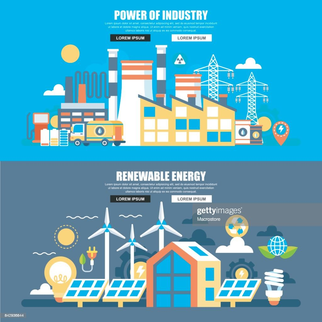 Business flat concept power of industry and renewable energy