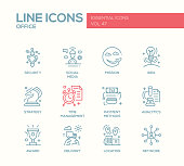 Business - flat design line icons set