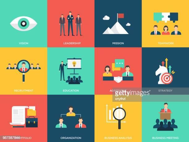 business flache icons - zielgruppe stock-grafiken, -clipart, -cartoons und -symbole