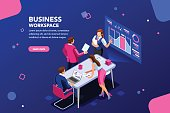 Business Flat Isometric Infographic
