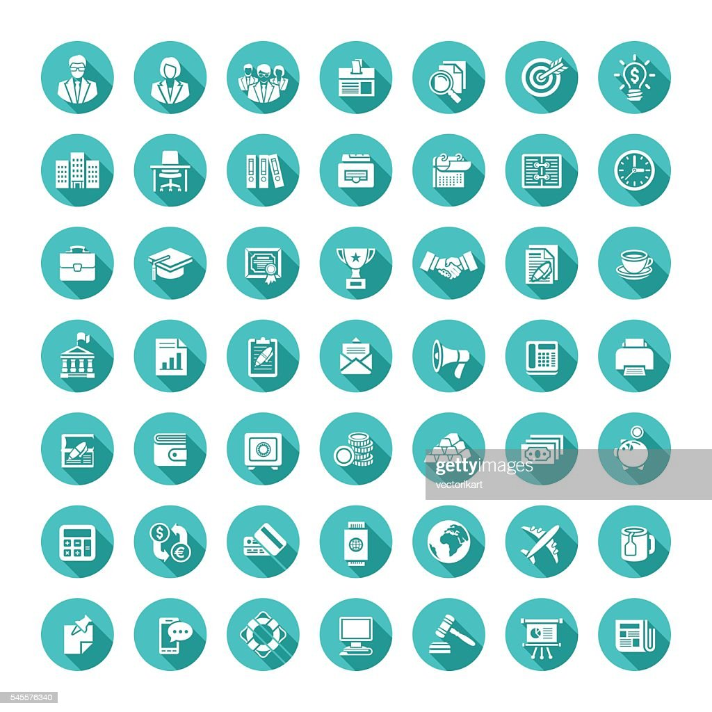 Business flat vector web icons set