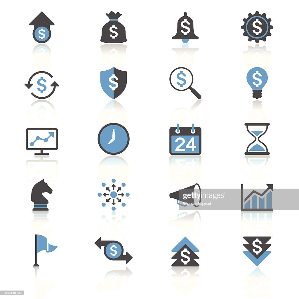 Business flat with reflection icons