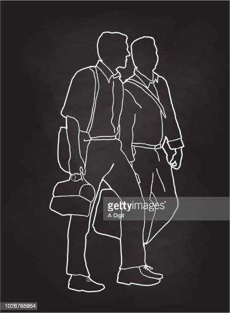 business friends walking - lunch break stock illustrations, clip art, cartoons, & icons