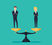 Business gender equality vector concept with businessman and businesswoman on scales on the same height.