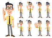 Business gesture and facial expression of short sleeve shirt wearing _ 9 kinds