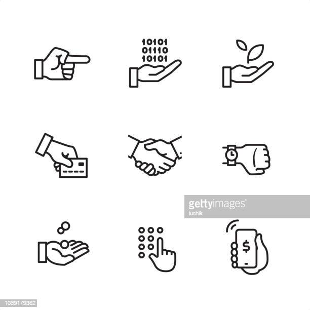 business gesture - pixel perfect outline icons - holding stock illustrations, clip art, cartoons, & icons