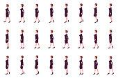 Business girl Girl walk cycle animation sprites