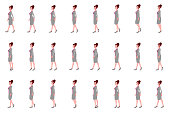 Business Girl walk cycle animation sprites, Loop animation.