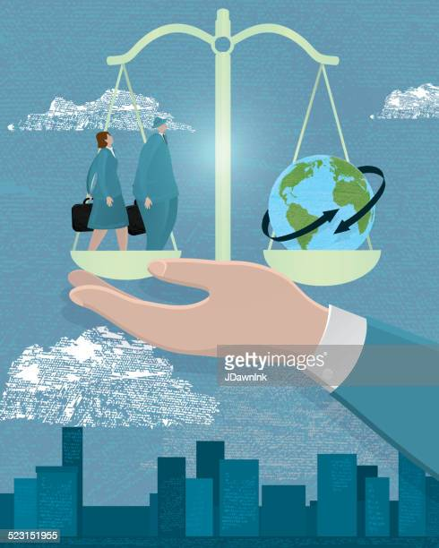 ilustraciones, imágenes clip art, dibujos animados e iconos de stock de concepto de negocio global de la escala - igualdad de genero