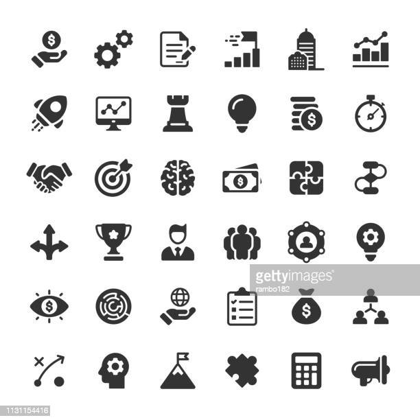 business glyph icons. pixel perfect. for mobile and web. contains such icons as business strategy, consulting, finance, management, human resources, start up, teamwork. - award stock illustrations