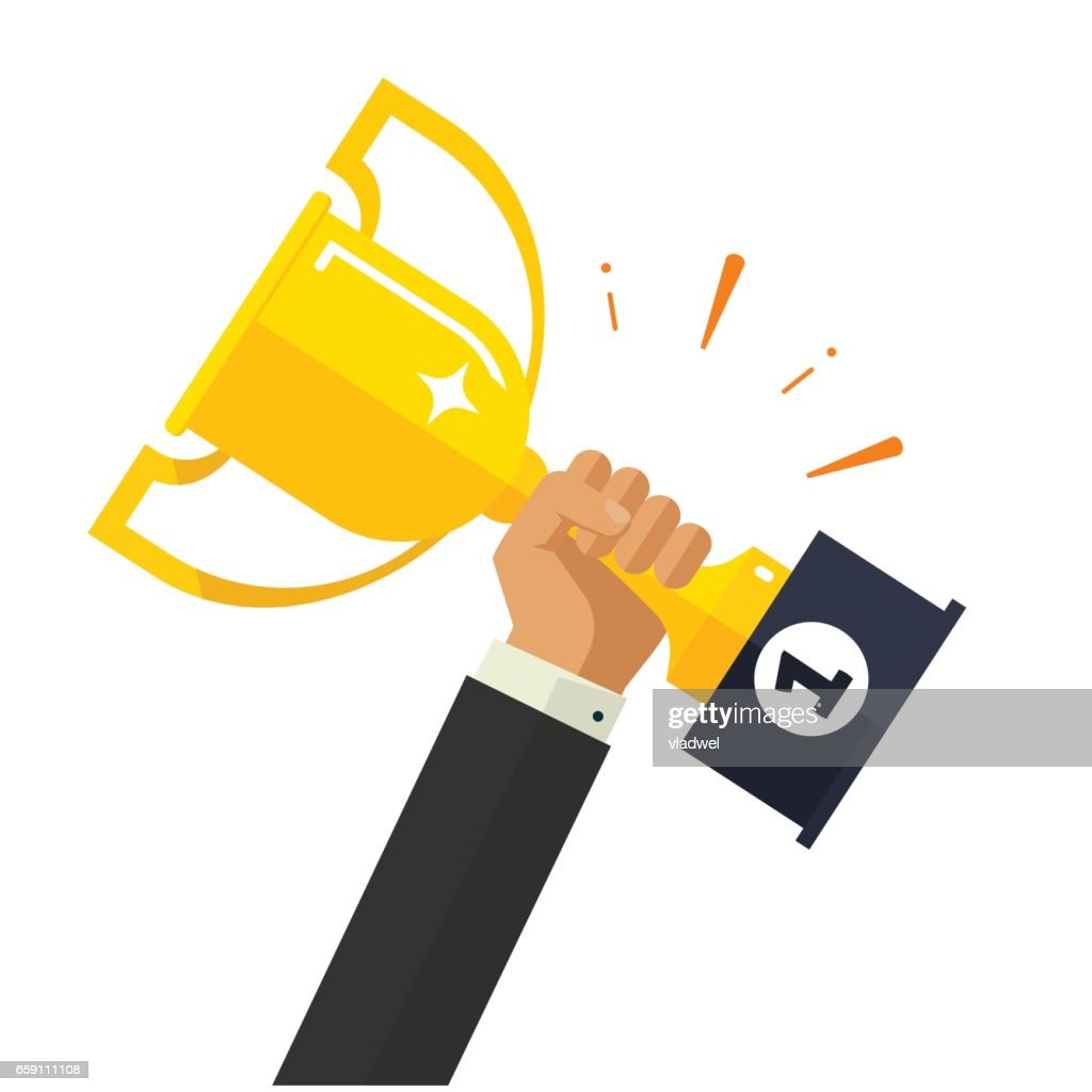 Business goal achievement vector, happy successful businessman holding golden cup award in hand