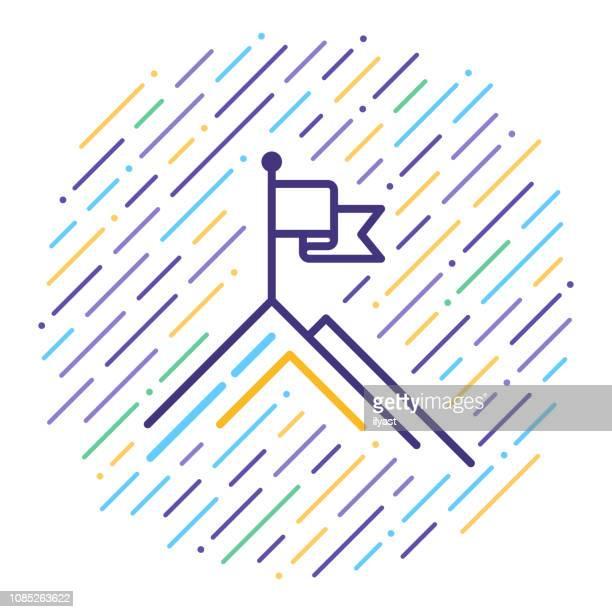 business goals statement line icon illustration - mountain logo stock illustrations