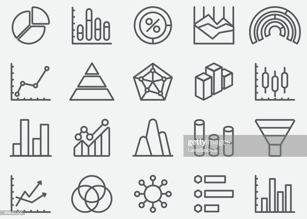 Business Graph and Diagram Line Icons : stock illustration