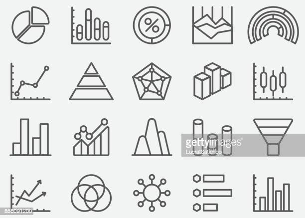 business graph and diagram line icons - finance and economy stock illustrations, clip art, cartoons, & icons