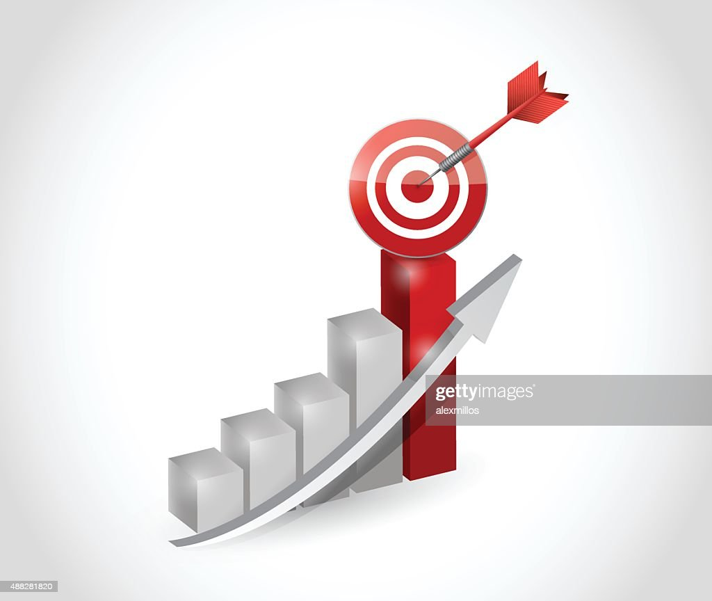 business graph with a target and dart illustration design