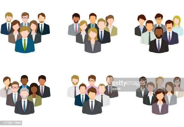 illustrations, cliparts, dessins animés et icônes de ensemble d'icône de groupe d'affaires - cadre d'entreprise