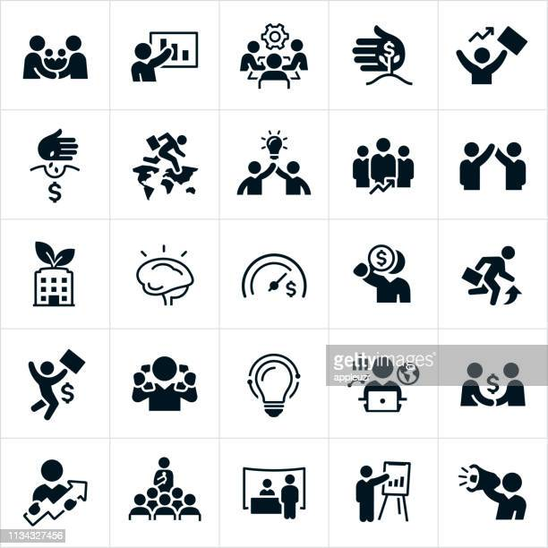 business growth and development icons - new business stock illustrations
