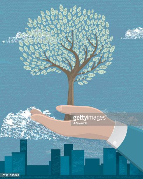 business growth concept tree with leaves - watering can stock illustrations, clip art, cartoons, & icons