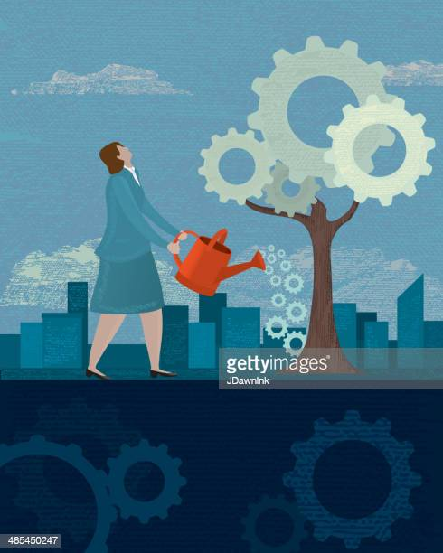 business growth concept - landscaper professional stock illustrations, clip art, cartoons, & icons