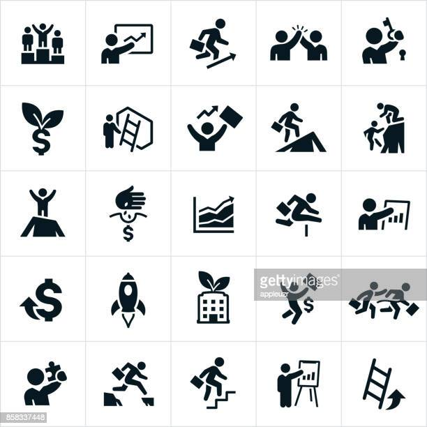business growth icons - small business stock illustrations