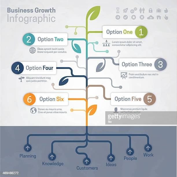 business growth infographic - tree stock illustrations