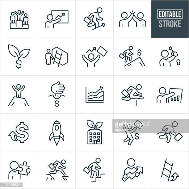 business growth thin line icons - editable stroke - hurdling track event stock illustrations