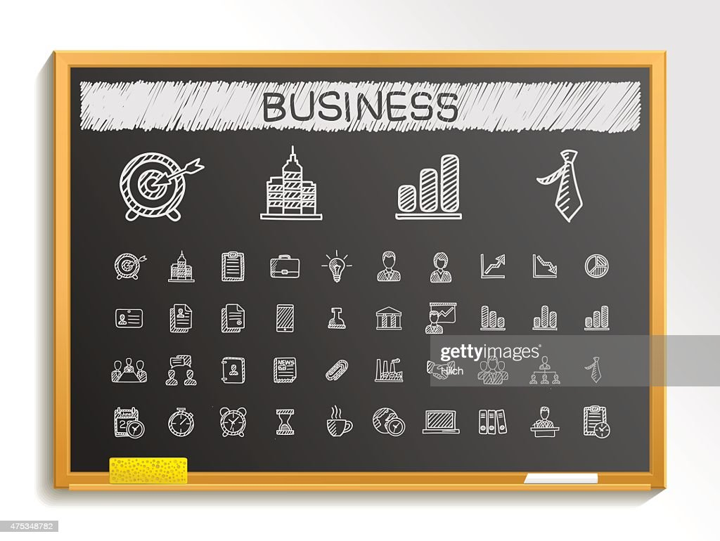 Business hand drawing sketch icons set. Vector doodle blackboard illustration