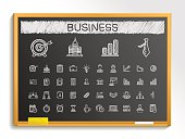 Business hand drawing sketch icons set. Vector doodle blackboard illustration