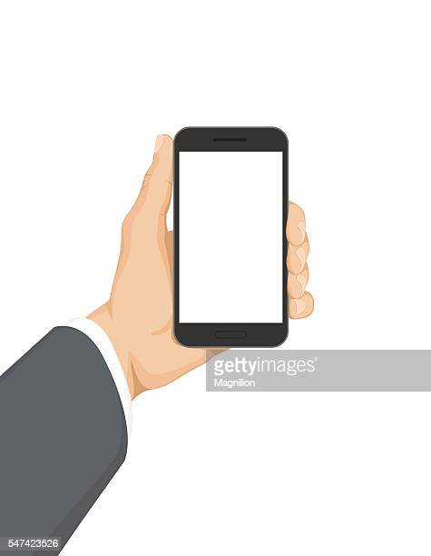 business hand holding phone - holding stock illustrations, clip art, cartoons, & icons
