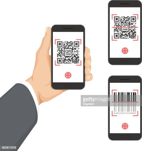 business hand holding smartphone with qr code and barcode app - computer part stock illustrations