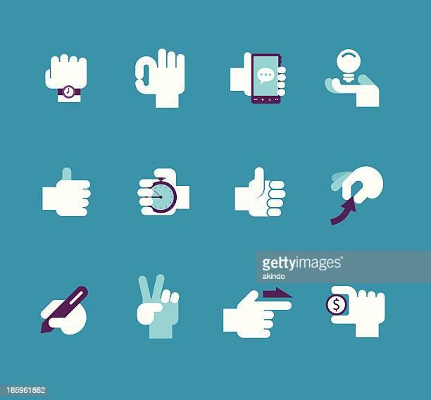 business hand set - thumb stock illustrations