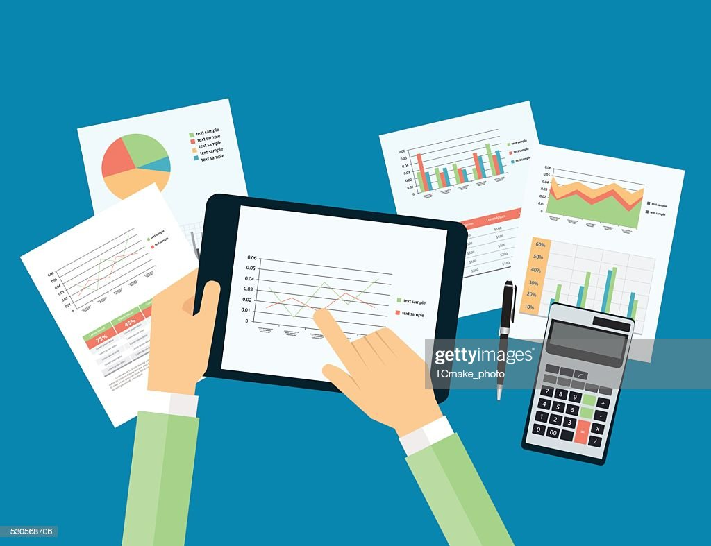 business hand touch on analytic graph in device